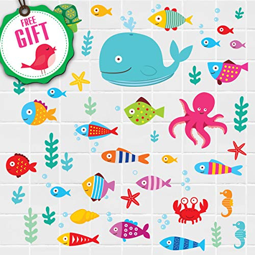 Ocean Fish Wall Decals – Sea Whale Turtle Tropical Creatures Bathroom Stickers - Cartoon Decorative Bathroom Wall Decal for Kids [50 Art Decals] with Free Gift!