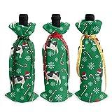 Xmas Wine Bottle Cover,Cubierta De Botella De Vino Tinto De Navidad De Menta Holstein, Fundas De Botella De Vino De Regalo Impresas Decorativas Para Amigos De La Familia Del Hogar,3pcs/set