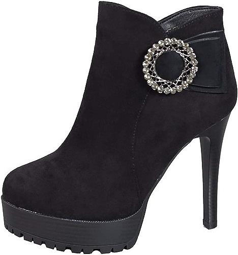 LBTSQ Chaussures Femme l'eau 11Cm Drill Le Tempérament La Hauteur du Talon Martin Bottes Hiver Bon Talon Plate - Forme Imperméables Bottes