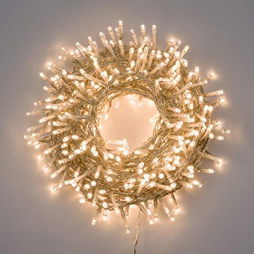 Catena di luci natale 500 led 25 mt serie luminosa natalizie per esterno interno albero cavo filo trasparente con trasformatore 31v (Luce calda)