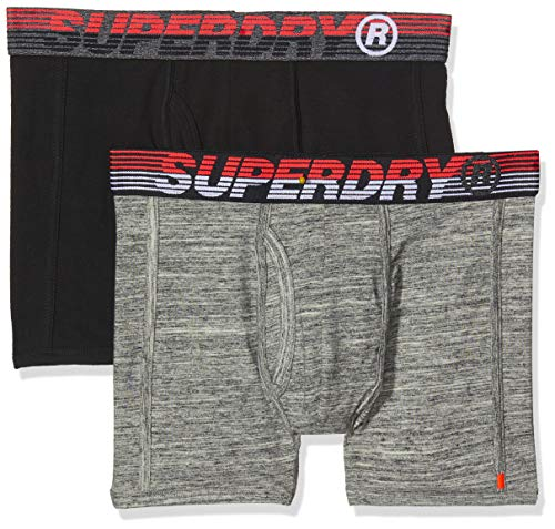 Superdry Herren Speed Sport Double Boxer Boxershorts, Mehrfarbig (Flint Grey Grit/Black ZRH), X-Large