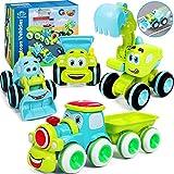 Tacobear 4 Piezas Vehículos de Construcción Pequeños Coches de Juguetes Empuje y Vaya Fricción Vehículos Lindos Camion Juguete Regalo para Niños Niñas 2 3 4 Años