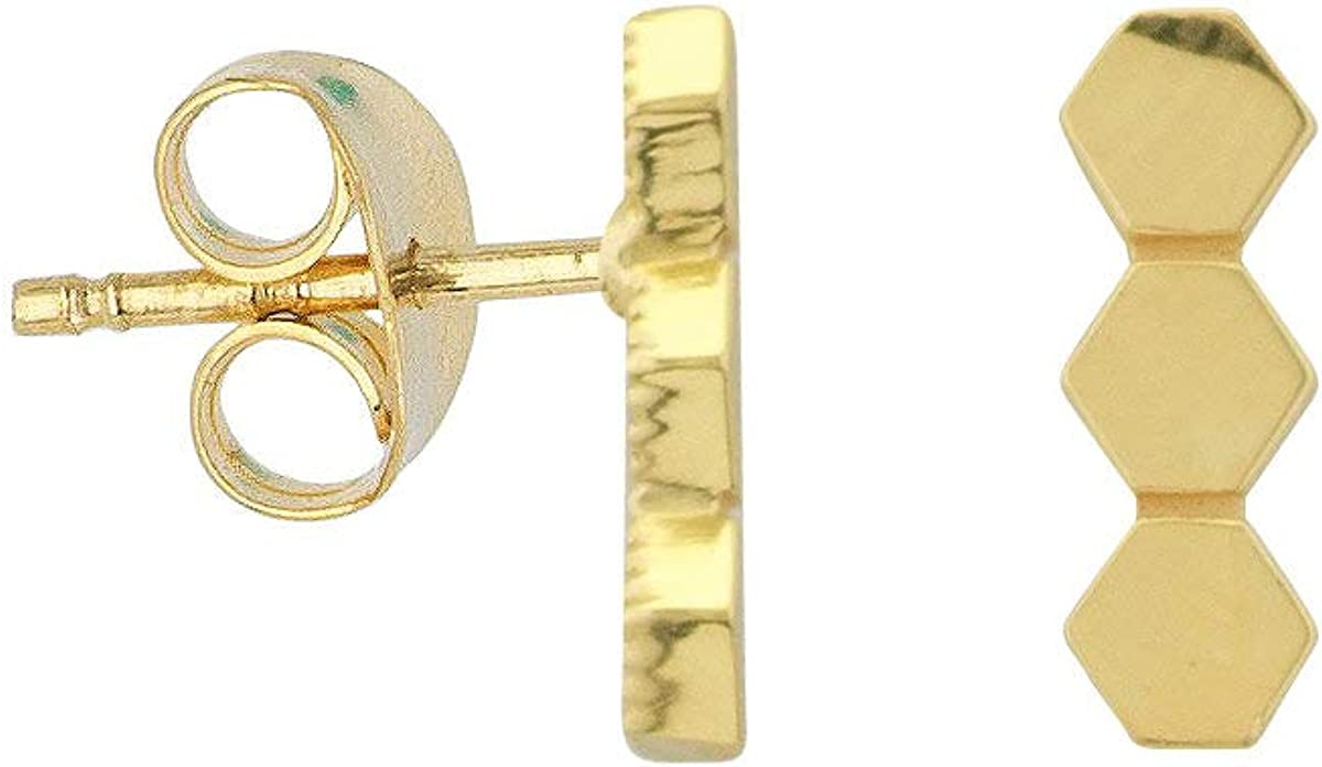 Safety and New products, world's highest quality popular! trust 14k Yellow Gold Bar Design Honeycomb Earrings Stud