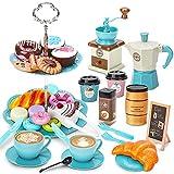 Sanlebi Juego de Cafe Juguete 38 Piezas con Platos Juguete, Juegos de té de rol por Niñas 3 4 5 Años