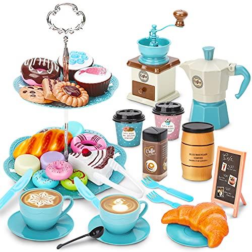 Sanlebi Set da tè per Bambini con Cibo Giocattolo, Tazza Plastica, Ragazze Cucina Gioco per Bambini 3 4 5 6 7 8 Anni