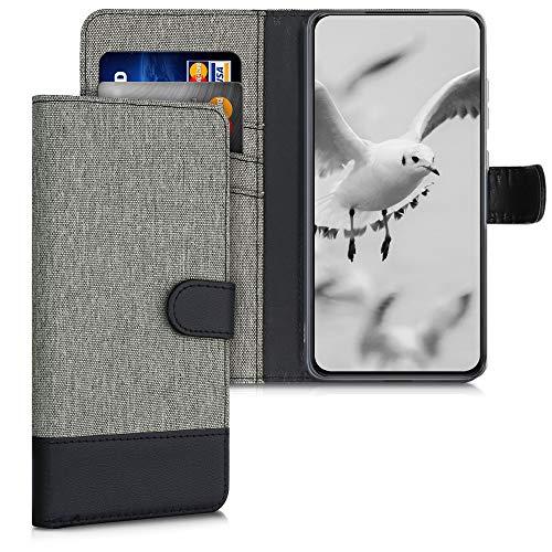 kwmobile Wallet Hülle kompatibel mit Samsung Galaxy S21 Plus - Hülle Kunstleder mit Kartenfächern Stand in Grau Schwarz