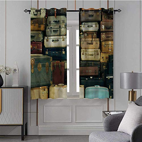 JiuYIBB Curtains Vintage,Triple Weave Microfiber Blackout Curtains Colorful Suitcase Atique/Drapes for Bedroom 52x63 Inch,2 Panels