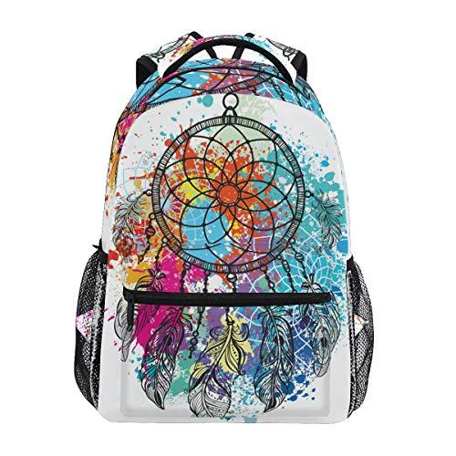 Colorful Splash Dreamcatcher Backpacks Travel Laptop Daypack School Bags for Teens Men Women