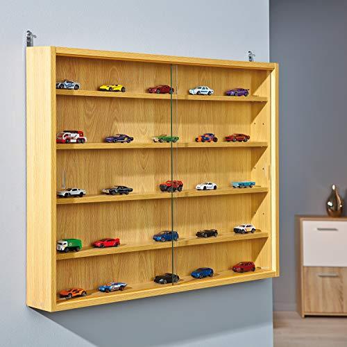 Inter Link Simply Vitrina de madera MDF y vidrio, Marrón, 80 x 9.5 x 60 cm ⭐