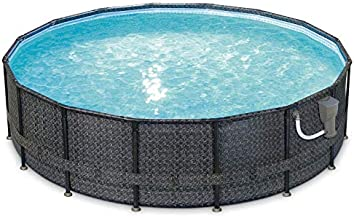 Summer Waves Elite 16ft x 48in Above Ground Frame Outdoor Swimming Pool Set with Filter Pump, Pool Cover, Ladder, Ground Cloth, and Deluxe Maintenance Kit