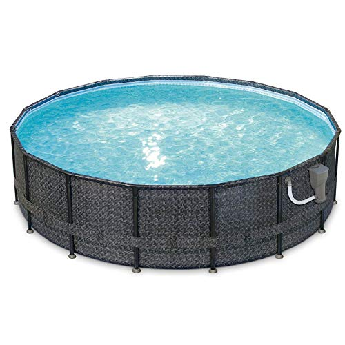 Summer Waves P4A01648B 16ft x 48in Above Ground Frame Outdoor Swimming Pool Set w/Filter Pump, Pool Cover, Ladder, Ground Cloth, & Maintenance Kit