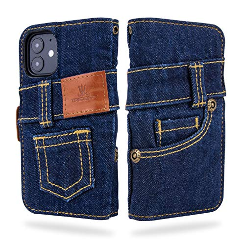 UK Trident Denim iPhone 12 Mini Wallet Case with Card Holder, One Wash Dark Blue Denim, Handmade from 11oz Jeans Denim with Credit Card Pockets and Stand Function, Japanese Denim Brand