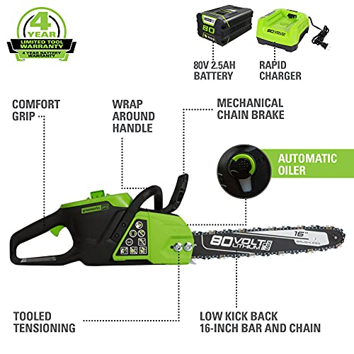 """Greenworks Pro 80V 16"""" Brushless Cordless Chainsaw, 2.5Ah Battery and Charger Included CS80L2512"""