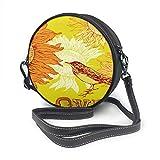 Bolso bandolera de piel con diseño de pájaros y girasoles, redondo, con correa ajustable para el hombro para mujer