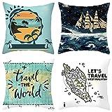 Agoble Cojines para Sofa, Fundas para Cojines Poliéster 4 50X50cm Funda Cojin Blanco Azul Viajar el Mundo