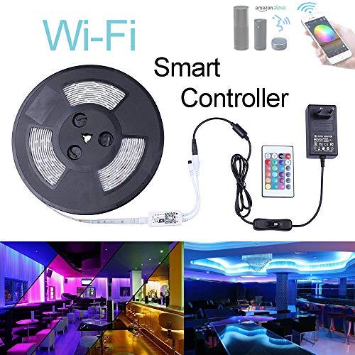 Miwatt LED-Beleuchtungsstreifen, Wireless-LAN Wireless-Smart-Phone Controlled-Streifen-Licht-Kit 32.8ft 300leds 5050 wasserdicht IP65 LED-Leuchten, Arbeiten mit Android und IOS-System, Alexa
