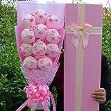 N/L Peluches de Peluche de Peluche de Dibujos Animados, Ramos de Puntadas con Once Flores de jabón, Regalo de San Valentín de graduación 58x25x12cm Rosa