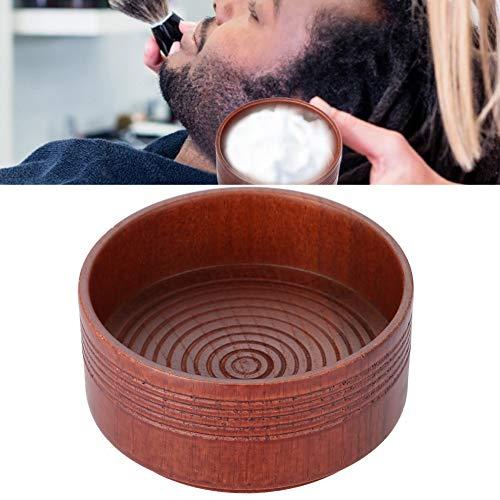 Ciotola di sapone da barba in legno, strumento di pulizia schiuma da barba in schiuma naturale per uomo, ciotola di schiuma detergente rotonda per uomo rasatura barba pulizia rimozione