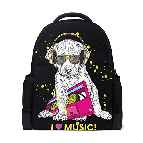 ISAOA Kinder Rucksack Schultasche für Mädchen Jungen, süßer Musik-Labrador Welpen, Casual Rucksack Daypack Laptop Rucksäcke