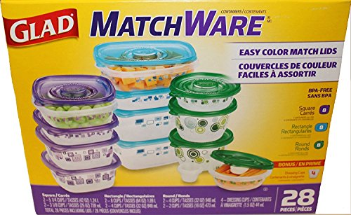 GladWare Glad matchware Food Storage containers Variety Pack Including Easy Color Match lids Plus 4 Dressing Cups as a Bonus, 28 Total Pieces