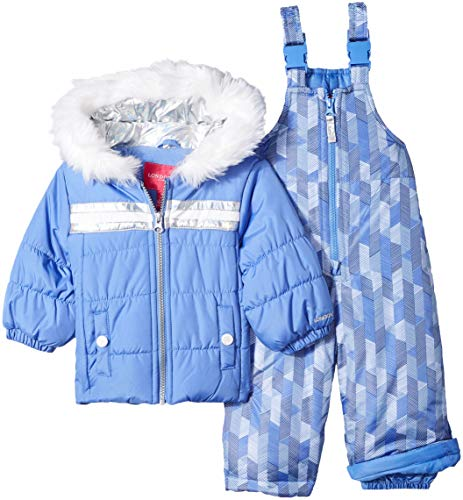 LONDON FOG Baby Girls Snowsuit with Snowbib and Puffer Jacket, Lavender Blue Periwinkle, 12MO