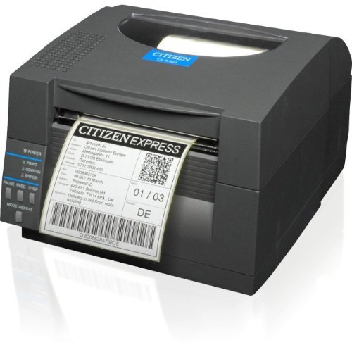 Citizen CL-S521 – Etikettendrucker (Thermodirekt, 203 DPI, 150 mm/Sek, Ethernet, Parallel, Seriell (RS-232), verkabelt, USB 1.1, serienmäßig) grau
