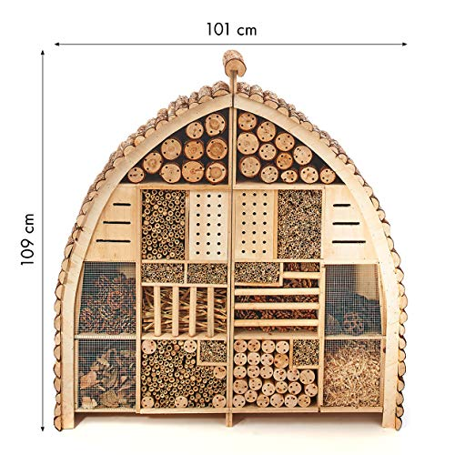 Kobolo Insektenhotel Insektenhaus Luxury XXL 101x23x109 cm in Bogenform - Zweigeteilt