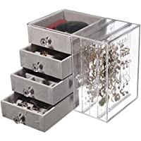 Cq acrylic Jewelry Box with 4 Drawers for Earring, Bangle, Bracelet, Necklace and Rings