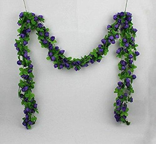 UUOUU Guirlande de roses artificielles en soie pour la Saint-Valentin, la maison, le mariage, le jardin, violet