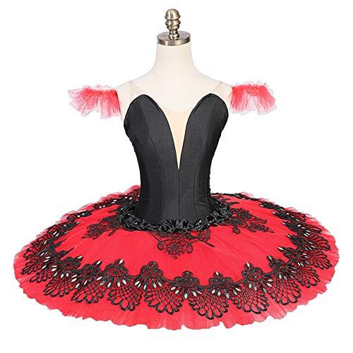 QSEFT tutù Professionale Rosso Nero Pancake Costumi Costumi Performance Classica Tutu di Balletto Schiaccianoci Tutu Rosso,Adultsizes