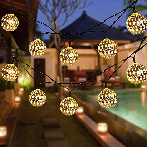 Globe String Lights, CMYK 20 Ft 40 Balls Waterproof LED Fairy Lights, Outdoor Starry Lights Solar Powered String Lights, Decorative Lighting for Home, Garden, Party, Festival, Warm White
