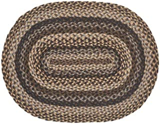 IHF Home Decor Braided Area Rug Farmyard Design | Oval Living Room, Office, Bedroom Durable Accent Floor Carpet | Shades of Blue Color | Natural Jute Fiber - 20
