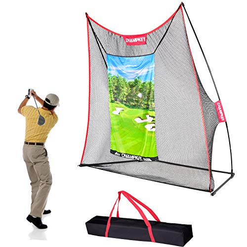 Champkey Professional Golf Hitting Net | 5 Ply-Knotless Netting with Impact Target Golf Practice Net | Driving Range Golf Practice Nets Ideal for Indoor and Outdoor Training