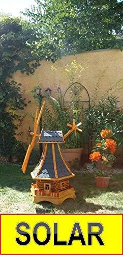 XL,Massivholz-Windmühle, wetterfest,robust mit Bitumen, MIT WINDFAHNE Windrad-Seitenruder, Windmühlen Garten, imprägniert + kugelgelagert 1 m groß blau blaugrau hell grau hellgrau anthrazit, mit SOLA