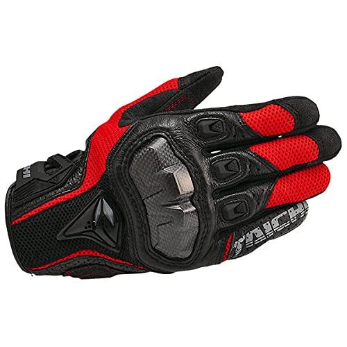 Atmungsaktive Leder Motorradhandschuhe Rennhandschuhe Herren Motocross Handschuhe guantes Moto rekawice motocyklowe-391 Black Red-2-M