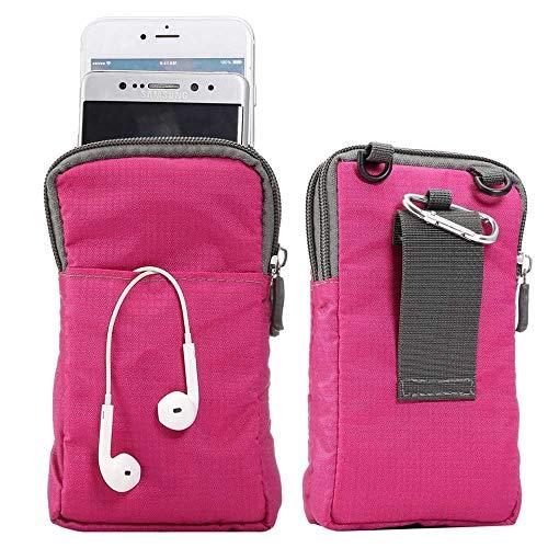 jbTec Handytasche zum Umhängen 165x90x30mm Nylon klein - Gürteltasche Handy Umhängetasche Gürtel Tasche Hüfttasche Case, Farbe:Pink