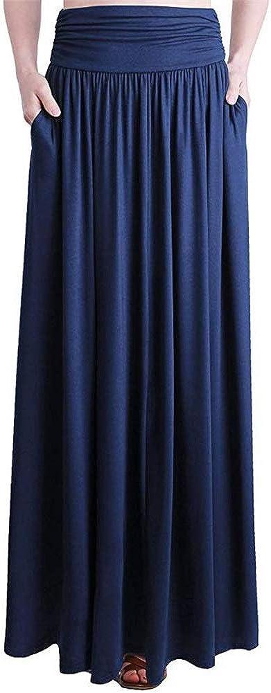PRIMODA Women's High Waist Ruffle Maxi Skirt Flowy Long Length Skirt with Pockets