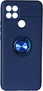 Fashion Auto Focus Silicone Back Cover with Metal Ring For Samsung Galaxy A15S Mobile Phone - Navy