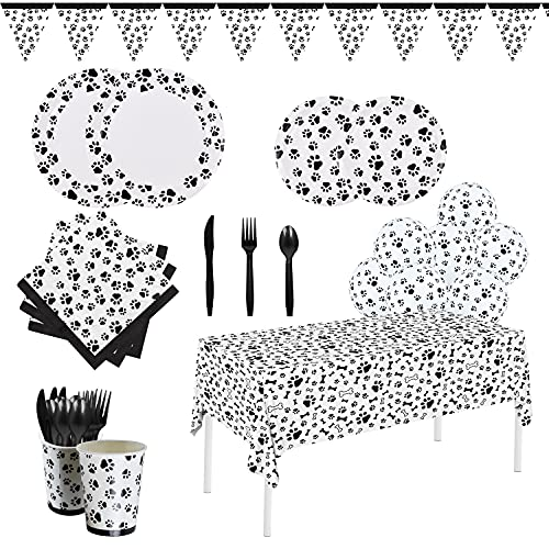 Gatherfun Dog Paw Prints Birthday Party Supplies Paper Plates Napkins Cups Knives Forks Spoons Tablecloth with Balloons and Banner for kids Birthday Party Puppy Themed Party Decorations, Serve 25