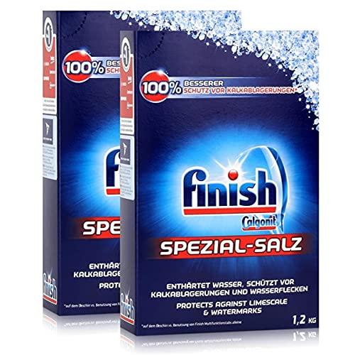 Calgonit Finish Spülmaschinen Spezial-Salz 1,2kg - Enthärtet Wasser (2er Pack)