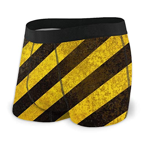 Personalisierte Unterwäsche Gelb Schwarz Streifen Boxershorts für Männer Jungen Jugend Soft Comfort XL