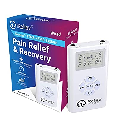 iReliev TENS and EMS Combination Unit Muscle Stimulator for Pain Relief