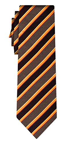 Cravate soie rayée extra longue tex stripe black orange red /180cm