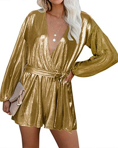 YOINS Tuta Donna Maniche Lunghe Jumpsuit Elegante Pagliaccetto Scollo a V Tutina Primavera Monopezzi Casuale Vestiti Sexy Playsuit da Spiaggia Oro XXL