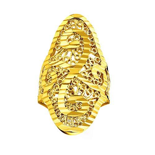 Gelede Ring Eenvoudige 18K Echte Vergulde Open Ring Heren Retro Uitgeholde Ring Geschikt Voor Geschenken Voor Vriendje Goud