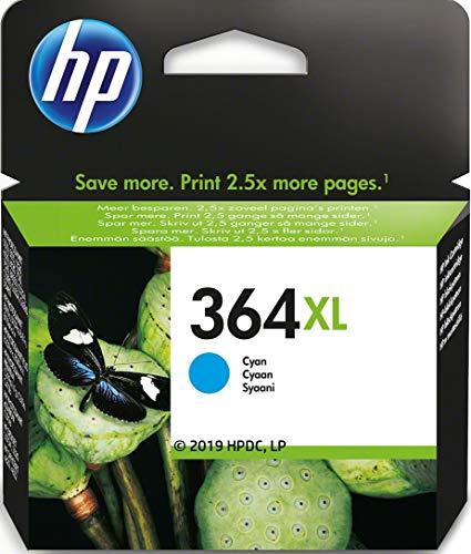 HP 364XL CB323EE Cian, Cartucho de Tinta de Alta Capacidad Original, de 750 páginas, para impresoras HP Photosmart serie C5300, C6300, B210, B110 y Deskjet serie 3520
