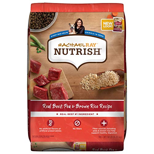 Rachael Ray Nutrish Premium Natural Dry Dog Food, Real Beef, Pea & Brown Rice Recipe, 14 Pounds (Packaging May Vary)