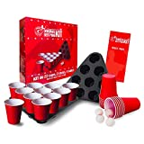 Original Beer Pong Kit Officiel | Pack Complet Beer Pong Officiel | Qualité Premium | 22 Red Cups | 2 Racks d'Emplacement | 4 Balles | Règles Officielles | Jeu à Boire | Jeu Soirée | OriginalCup®