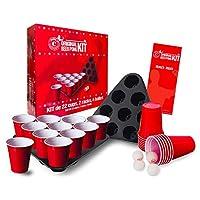 🔝 🚀 LE KIT : Un Kit unique avec 22 grands gobelets rouges américains 53cl, 2 racks (triangles pour placer les gobelets), 4 balles et un livret avec les règles officielles. 🍺 🏓 BEER PONG : Contient les accessoires essentiels pour jouer au Beer Pong pa...