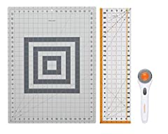 Classic Stick Rotary Cutter features a rolling 45 mm blade that cuts multiple layers and holds fabric flat for accurate, straight cuts without jagged edges Extra-large 18 inch x 24 inch Cutting Mat features an easy-to-read measuring grid and a self-h...